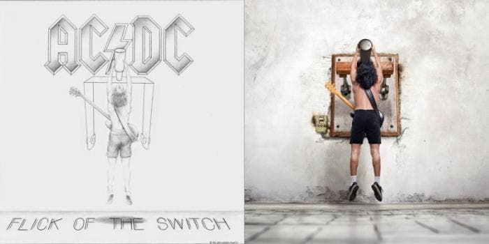 "Capa do álbum ""Flick of the Switch"", do AC/DC"