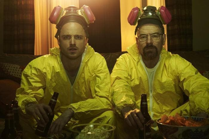 "Aaron Paul e Bryan Cranston em ""Breaking Bad"""