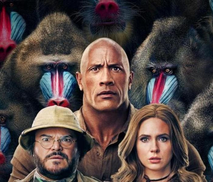 "Dwayne ""The Rock"" Johnson, Jack Black e Karen Gillan no cartaz de ""Jumanji: Próxima Fase"""
