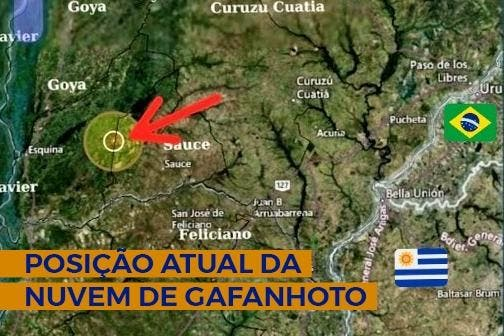 Mapa do local da nuvem de gafanhotos
