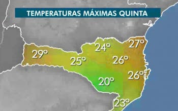 Mapa mostra as temperaturas da tarde desta quinta em SC